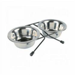 Set écuelles en acier inox avec pieds anti-dérapants Eat on Feet 2 pièces Contenance 0,75 litre Diamètre 15 cm