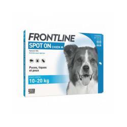 Soin antiparasitaire pour chiens Spot On Frontline 10/20 kg Boîte 6 Pipettes