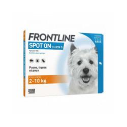 Soin antiparasitaire pour chiens Spot On Frontline 2/10 kg  Boîte 6 Pipettes