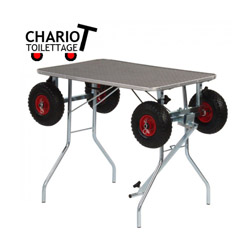 Table de toilettage réglable et chariot de transport pour exposition de chien et chat