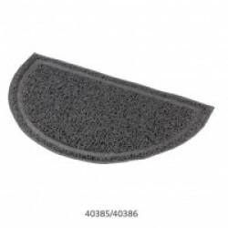 Tapis semi-circulaire gris en plastique pour bac à litière