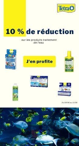 10 % sur les produits traitement de l'eau Tetra du 08/06 au 22/06